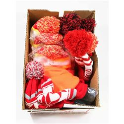 BOX OF NEW TOQUES INCL. 6 BUDWEISER,