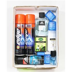 BOX OF NEW MEN'S PRODUCTS  INCL. 2 CANS