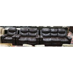 """BROWN LEATHER LOOK RECLINING 80"""" SOFA, 59"""" LOVE"""