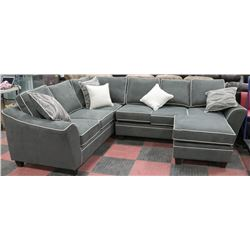 NEW JIVE GRANITE GREY FABRIC SECTIONAL W/ CHAISE