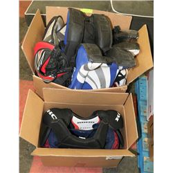 2 BOXES FOR HOCKEY GOALIE PADS AND SHOULDER PADS