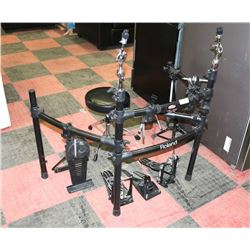 ROLAND DRUM KIT WITH STANDS, ELECTRIC FOOT PEDDLE