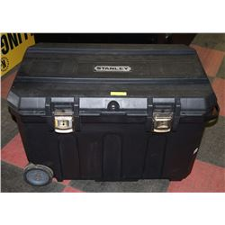 STANLEY LARGE TOOL BOX WITH WHEELS, LOCK AND KEY