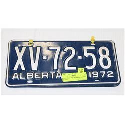 MATCHING 1972  ALBERTA  LICENSE PLATES