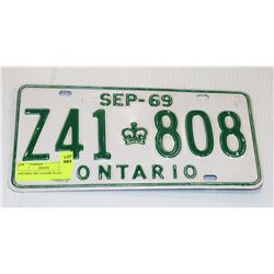 ONTARIO 1969  LICENSE PLATE