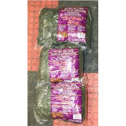 LOT OF 3- GREEN/GOLD 1LB BAGS OF 100% ACRYLIC YARN