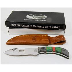 "NEW DEER CREEK 7.25"" HUNTING KNIFE WITH SHEATH"