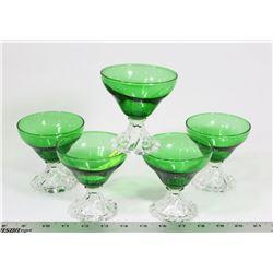 LOT OF 5 GREEN SHERBERT GLASSES
