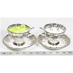 PAIR OF ROYAL ALBERT TEA CUPS AND PLATES