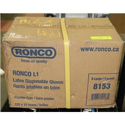CASE OF RONCO XL LATEX DISPOSABLE GLOVES