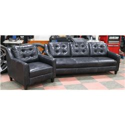 """CHARCOAL LEATHERETTE 82"""" SOFA WITH 36"""" CHAIR"""