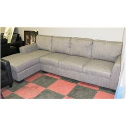 """GREY FABRIC 2PC SOFA WITH CHAISE LOUNGE, 110""""X68"""""""