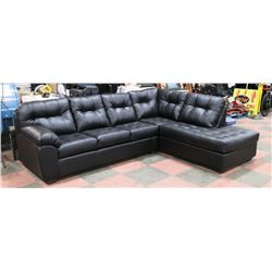 """LARGE BLACK LEATHERETTE SECTIONAL, 113""""X90"""""""