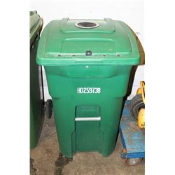 LARGE GREEN RECYCLE BIN LOCKABLE WITH WHEELS