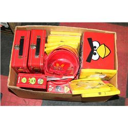 FLAT OF ANGRY BIRDS LUNCH BOXES, BUCKETS & NAPKINS