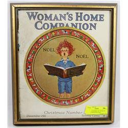 ANTIQUE FRAMED 1921 WOMANS HOME COMPANION NOEL