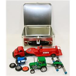 LUNCH BOX WITH TOY TRACTOR AND VINTAGE FIRETRUCK