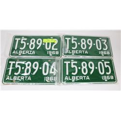 LOT OF 4 CONSECUTIVE NUMBERED  ALBERTA 1968 PLATES