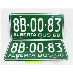 SET OF 2 MATCHING ALBERTA 1968 PLATES, NOS