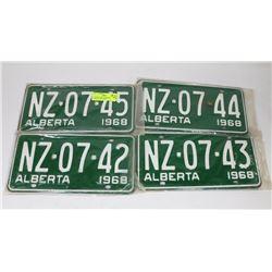 4 CONSECUTIVE NUMBERED  ALBERTA 1968 PLATES