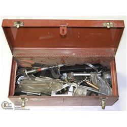 RED METAL LOCKABLE TOOL BOX WITH CONTENTS OF