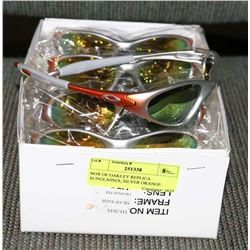 BOX OF OAKLEY REPLICA SUNGLASSES, SILVER ORANGE