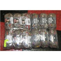 LOT OF 12 PATONS PEAK, COLOR WHEEL YARN