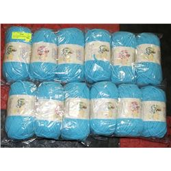 LOT OF 12 BERNAT BABY BLANKET BLUE YARN