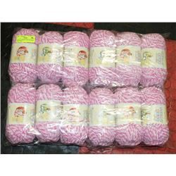 LOT OF 12 BERNAT BABY BLANKET PINK YARN