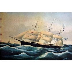 After Nathaniel Currier, Fine Art Modern Lithograph, Clipper Ship Dreadnought - 1854
