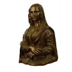 Signed Bronze Statue Art French Mona Lisa Sculpture Art Deco Modern Original Deco