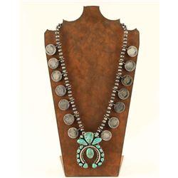 Navajo Vintage Quarter & Turquoise Squash Blossom