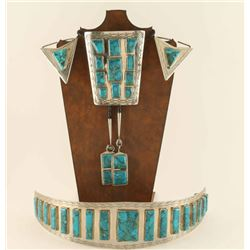 Massive Navajo Buckle, Bolo, & Tips Set