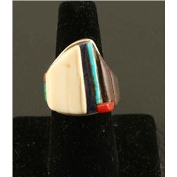 Charles Loloma Inlaid Sterling Silver Ring