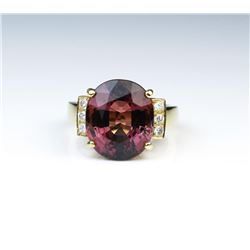 Amazing 8.58 Carat Pink Tourmaline & Diamond Ring