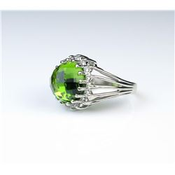 Dramatic Peridot & Diamond Ring