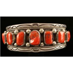 Old Pawn Navajo Coral Cuff
