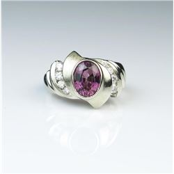 Striking Purple Garnet & Diamond Ring