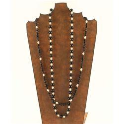 2 Tiffany Ziegfield Pearl & Onyx Necklaces