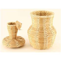 Lot of 2 Toho O'ohodam Basketry Vases