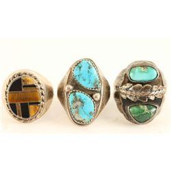 Lot of 3 Mens Sterling Rings