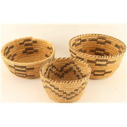 Lot of 3 Small Papago Baskets