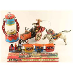 Lot of 4 Western Themed Tin Toys