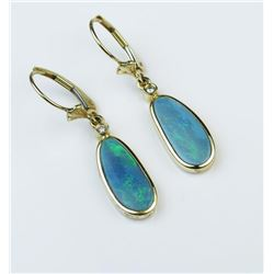 Wonderful Australian Black Opal Dangle Earrings