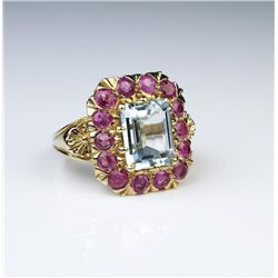Amazing Aquamarine & Burmese Color Ruby Ring