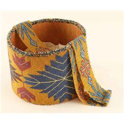 Vintage Arapaho Indian Beaded Basket