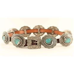 Navajo Turquoise Silver Snake Concho