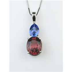 Captivating Pink Tourmaline & Tanzanite Pendant