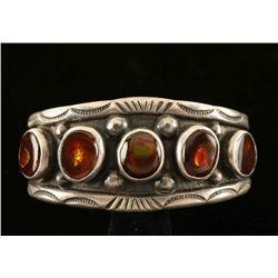 Fire Opal & Sterling Silver Cuff