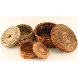 Lot of 3 Lidded Baskets
